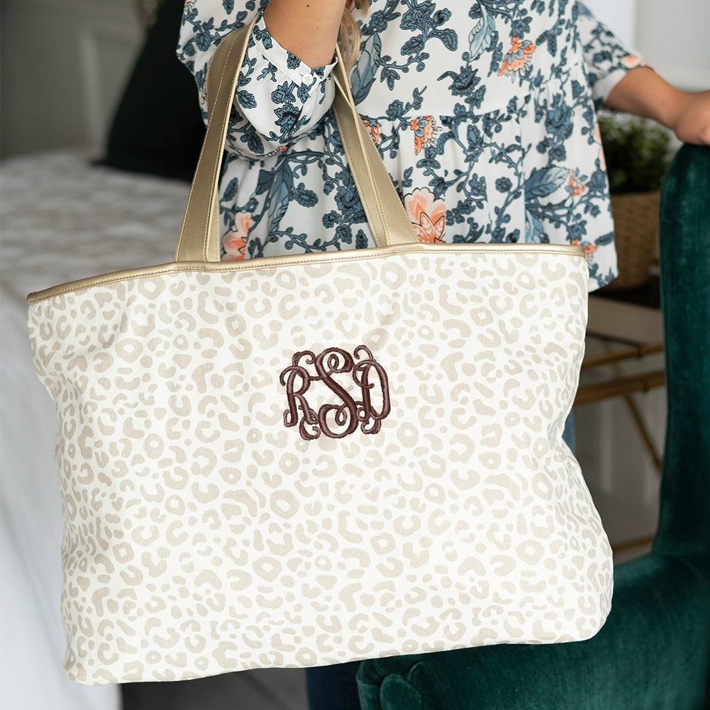 Personalized Large Shoulder Tote Carry All Bag - Natural Leopard