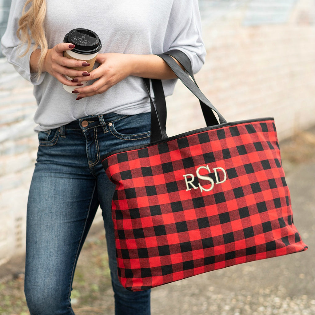 Personalized Large Shoulder Tote Carry All Bag - Red Buffalo Check