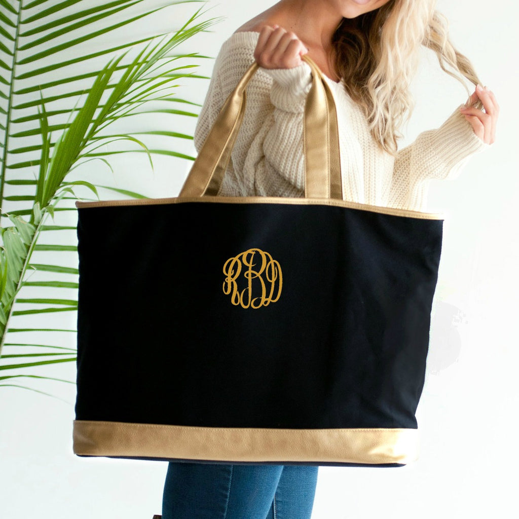 Personalized Tote Bag - Metallic Gold Trim - Black