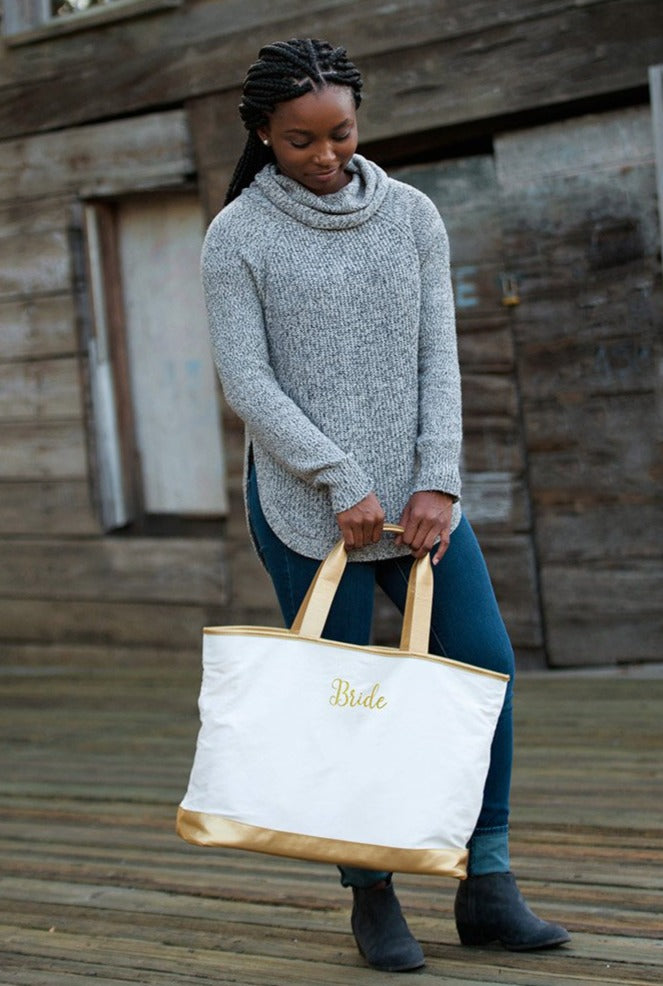Personalized Beach Bag - Vegan Leather Gold Trim