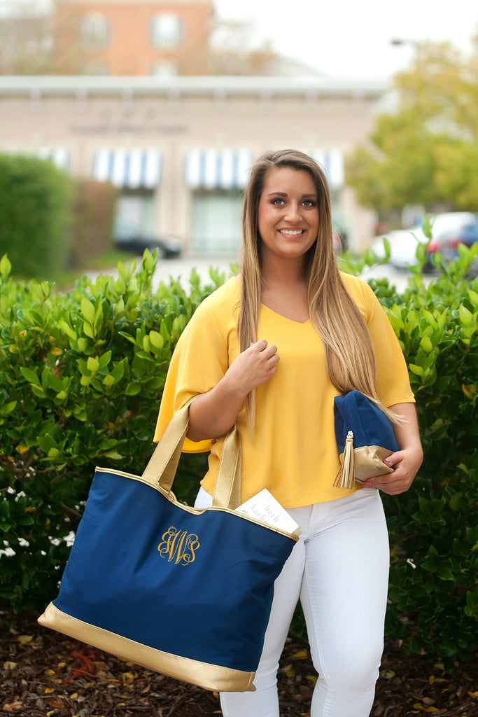 Personalized Tote Bag - Metallic Gold Trim - Navy