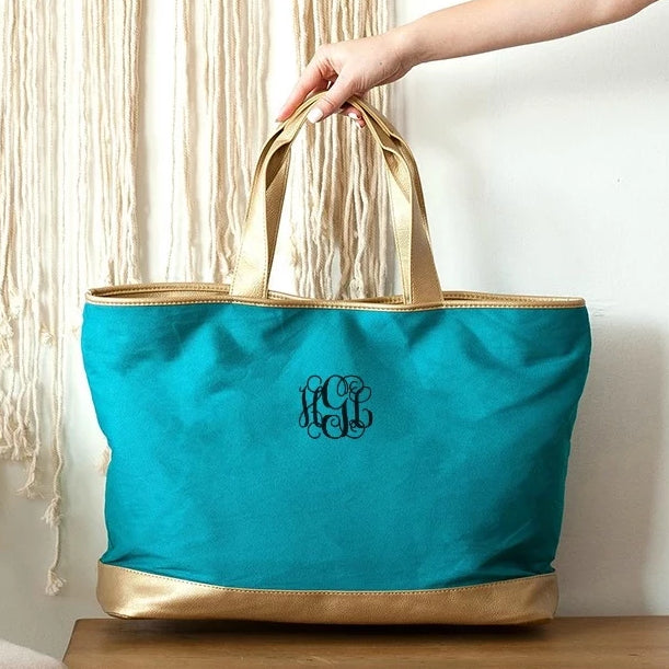 Personalized Tote Bag - Metallic Gold Trim - Teal