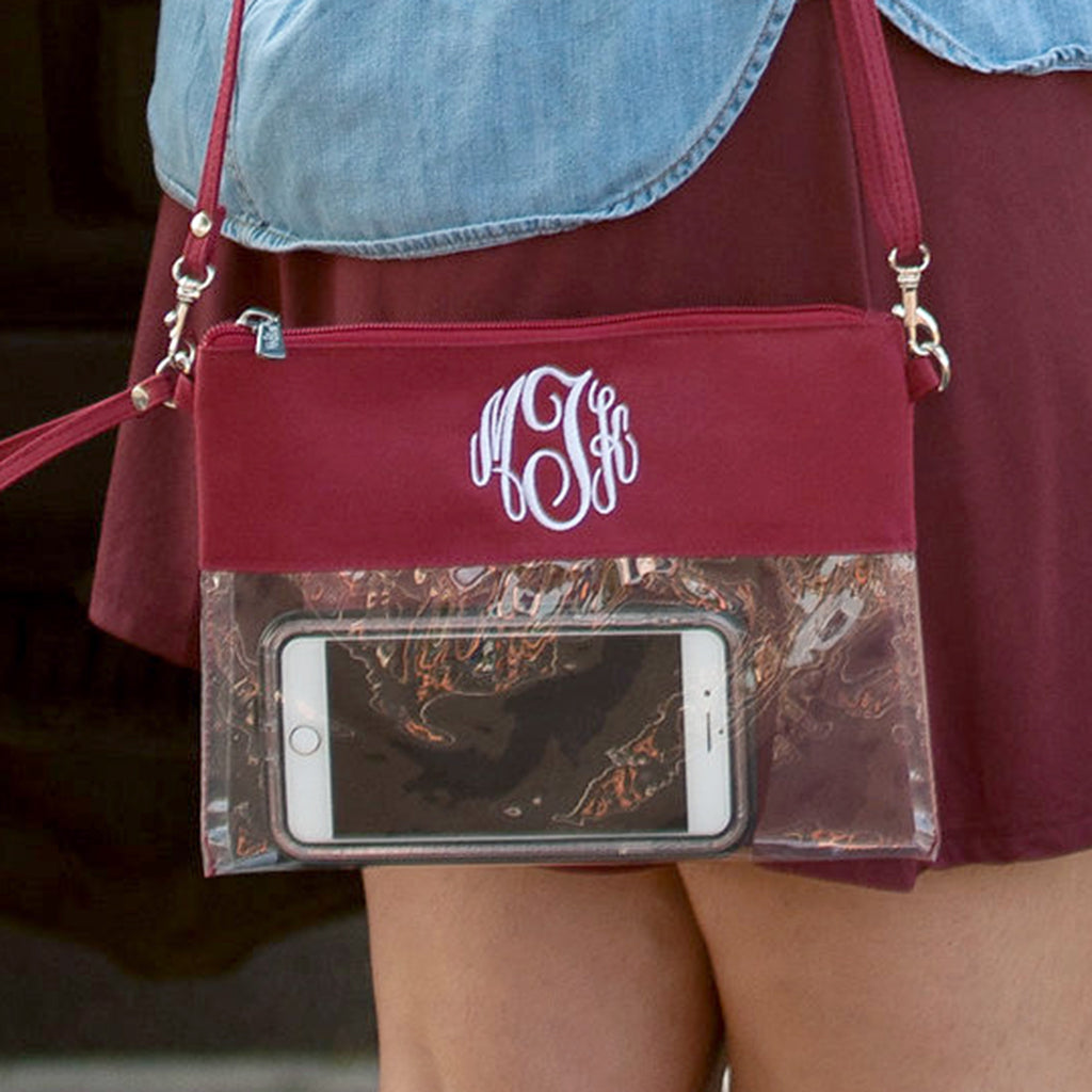 Personalized Stadium Bag Clear Purse - Garnet