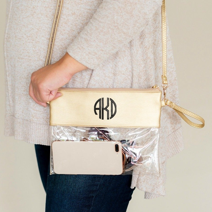 Personalized Stadium Bag Clear Purse - Gold