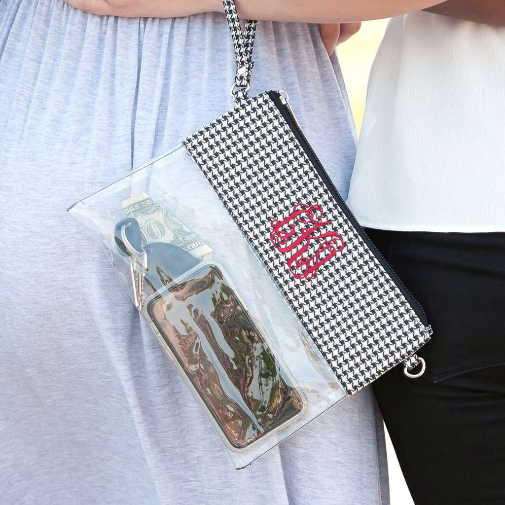 Personalized Stadium Bag Clear Purse - Houndstooth