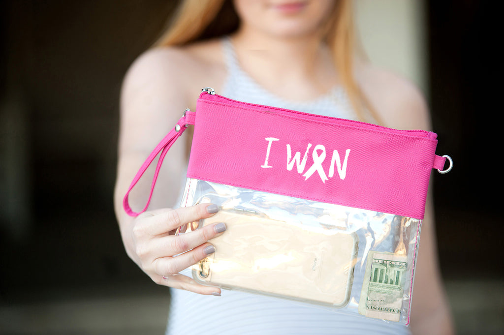 I Won Hot Pink Clear Purse - Breast Cancer Awareness - Pink Ribbon