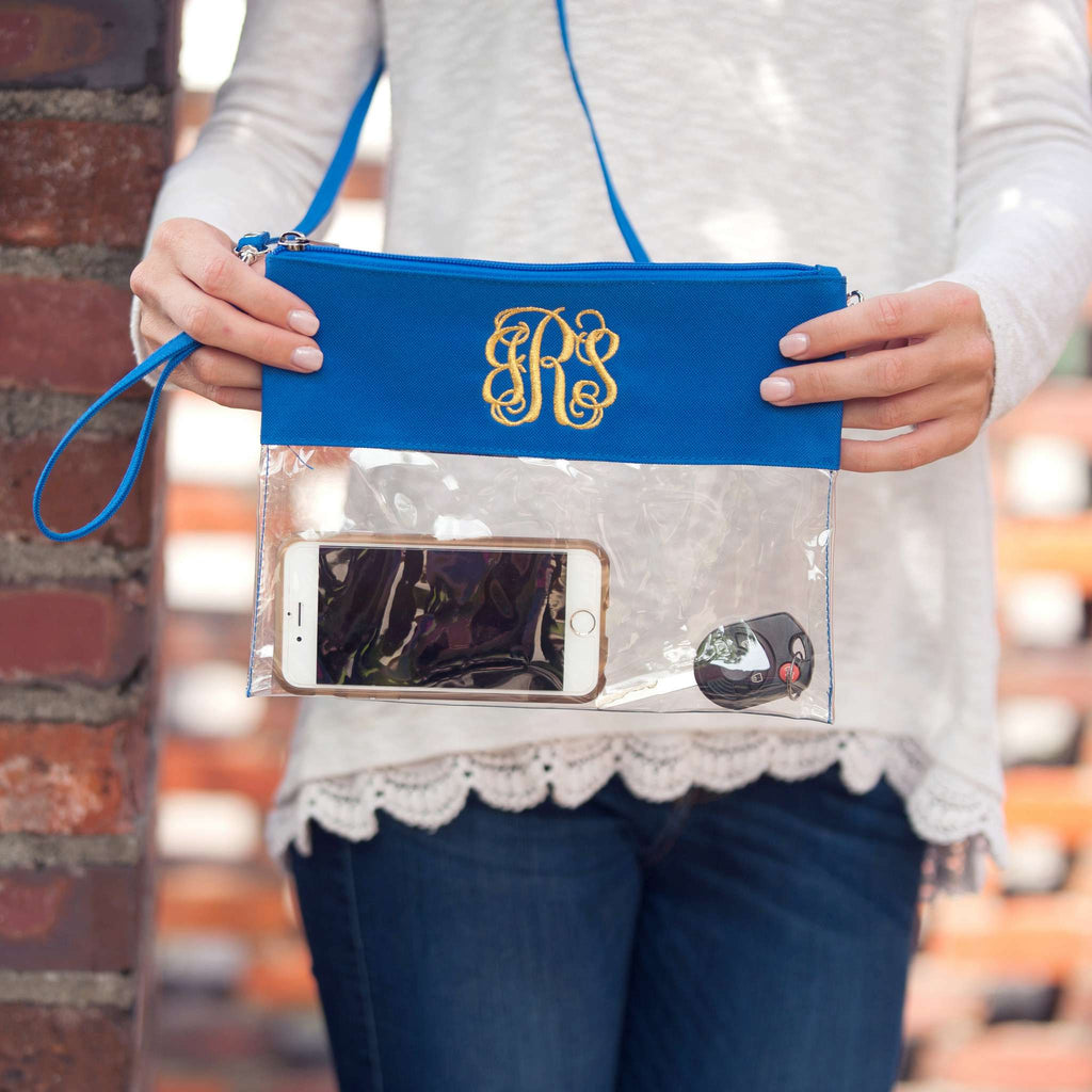 Personalized Stadium Bag Clear Purse - Royal Blue