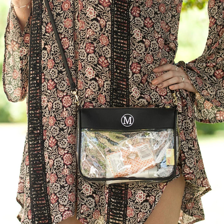 Personalized Clear Crossbody Purse - Black
