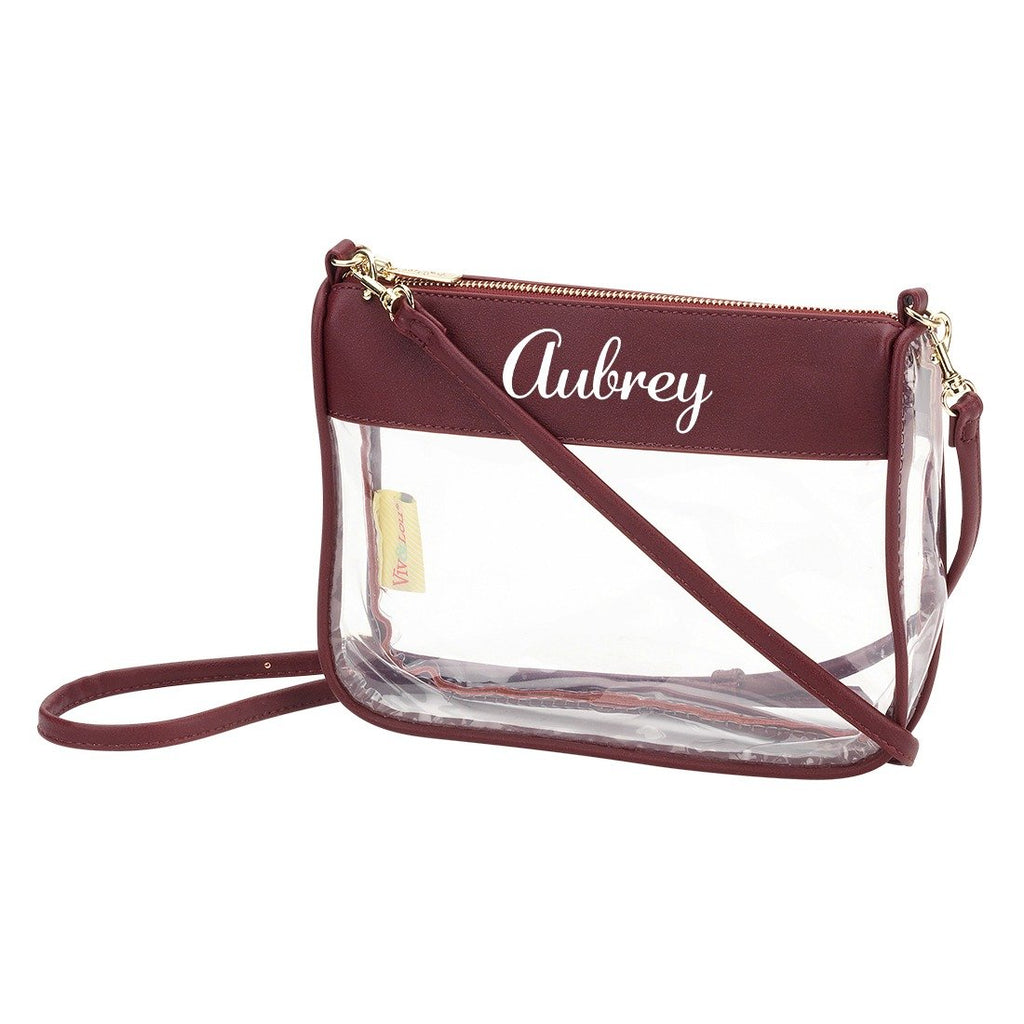 Personalized Clear Crossbody Purse - Garnet