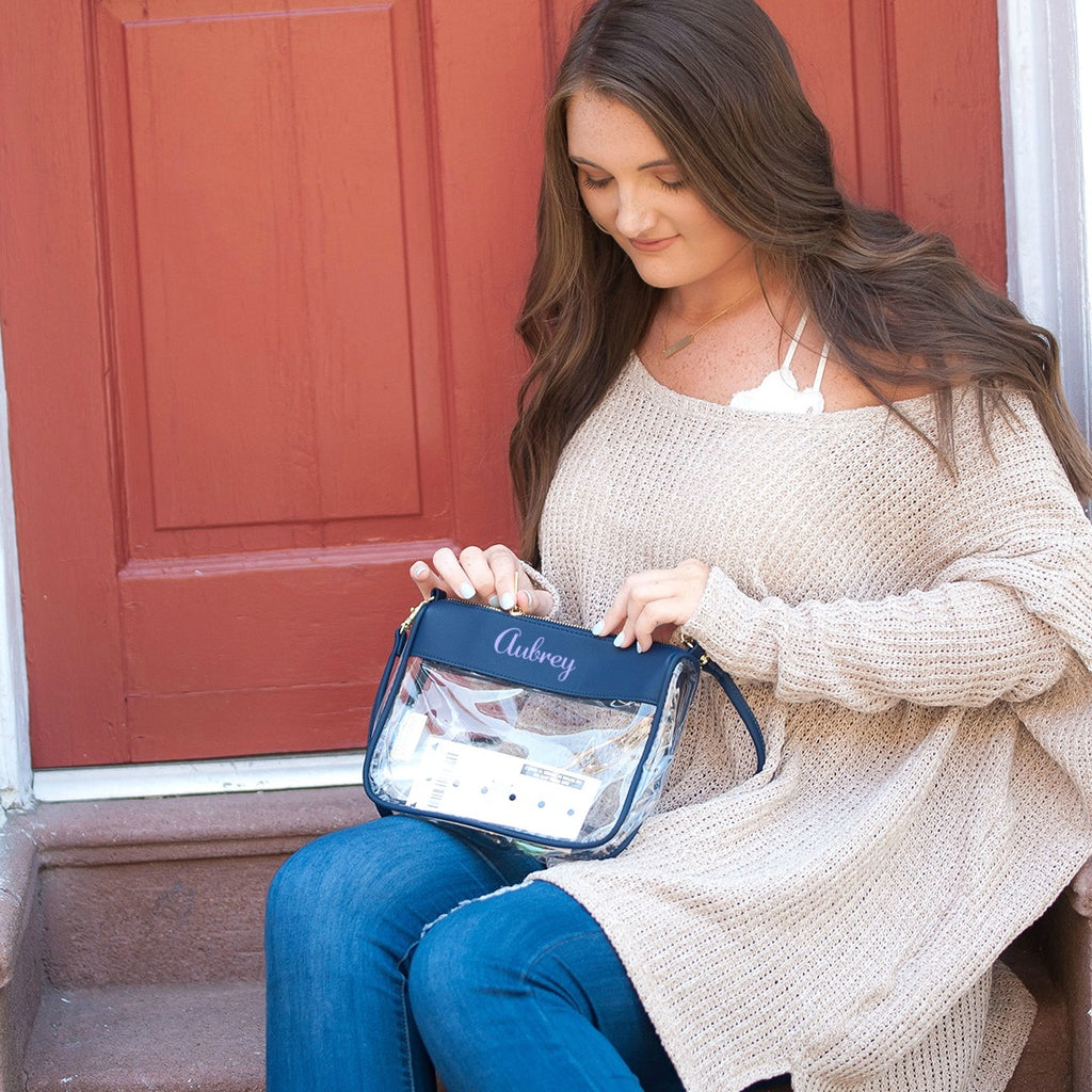 Personalized Clear Crossbody Purse - Navy Blue