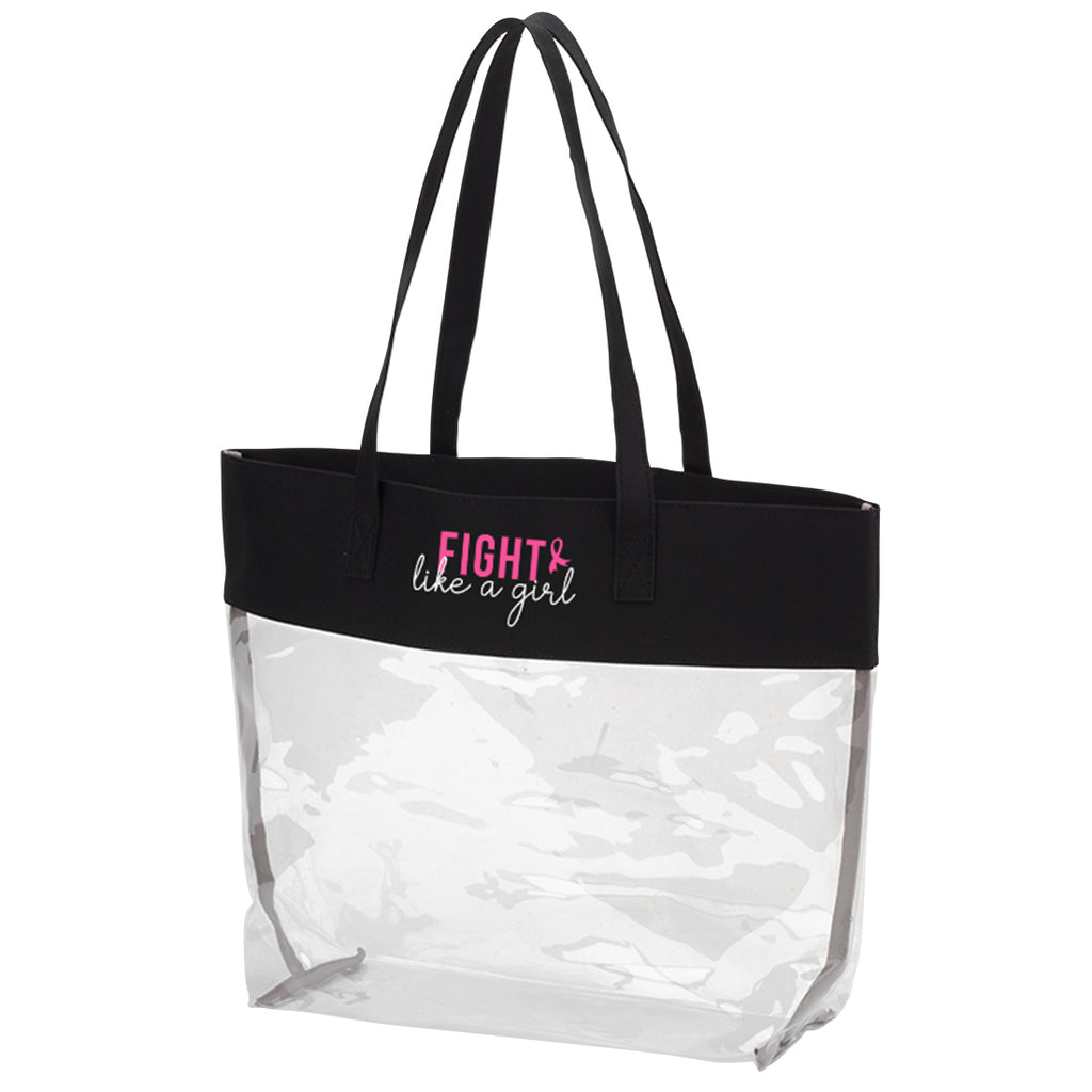 Fight like a Girl Black Clear Tote - Breast Cancer Awareness - Pink Ribbon