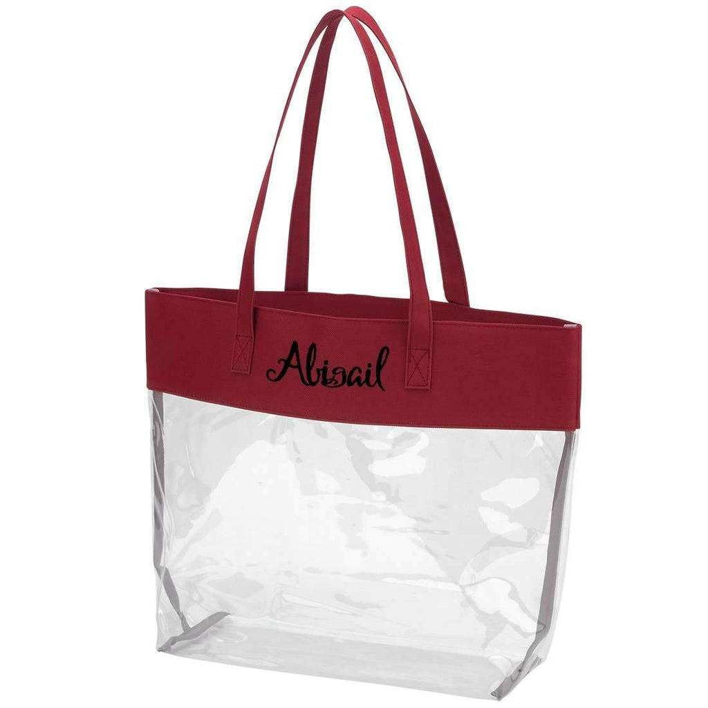 Personalized Stadium Tote Bag - Clear Purse - Garnet