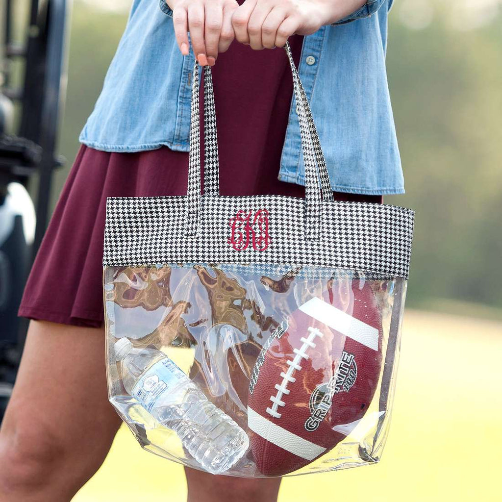 Personalized Stadium Tote Bag - Clear Purse - Houndstooth