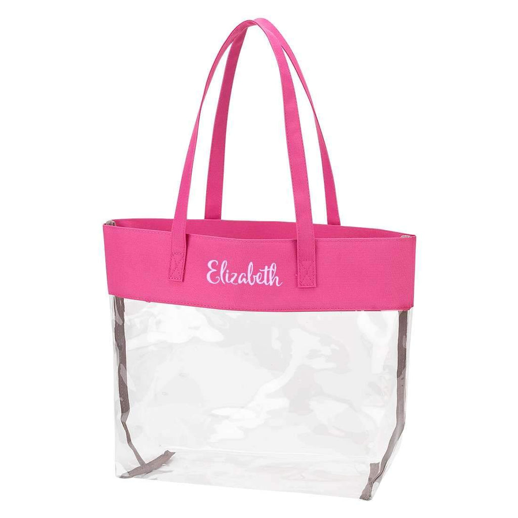 Personalized Stadium Tote Bag - Clear Purse - Hot Pink