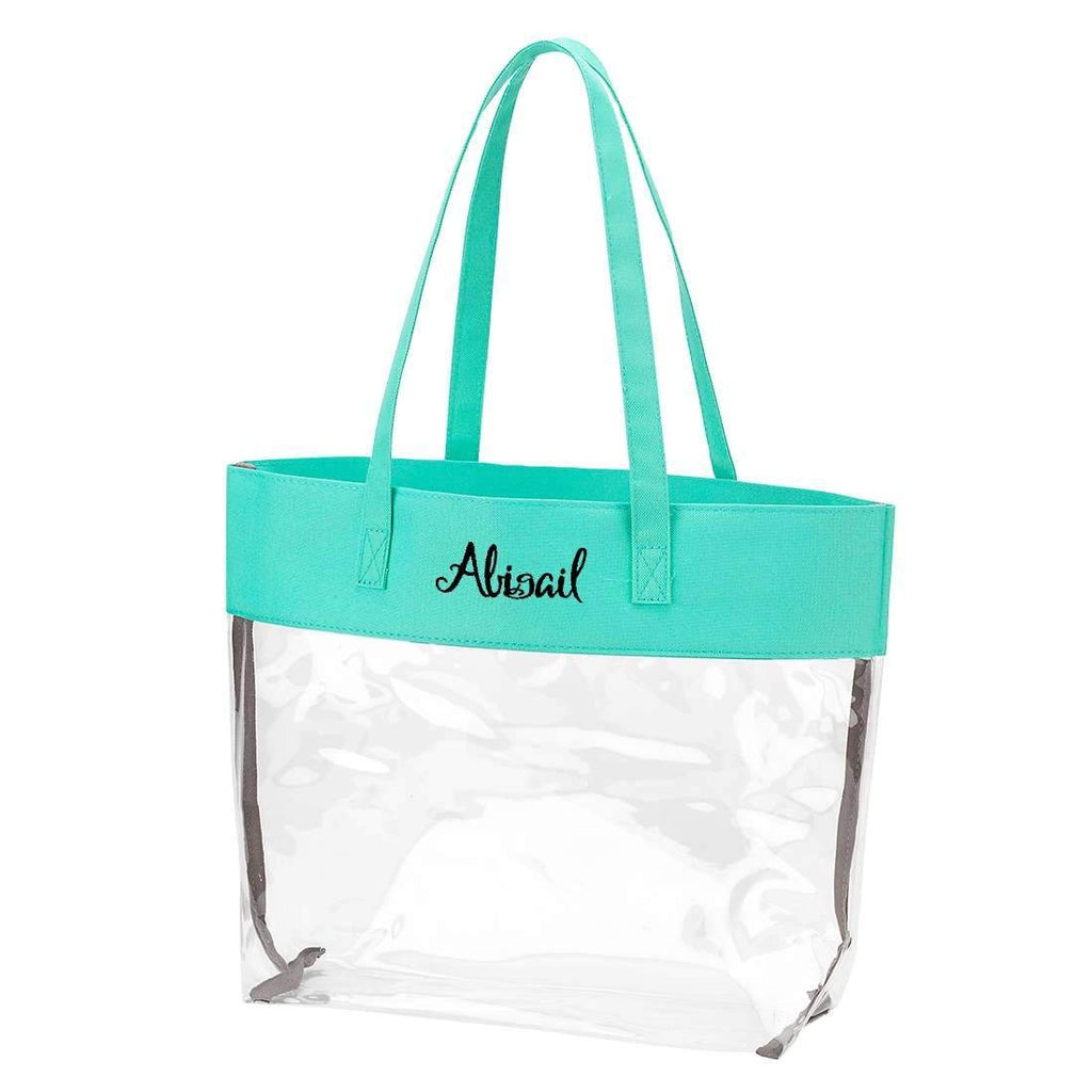 Personalized Stadium Tote Bag - Clear Purse - Mint