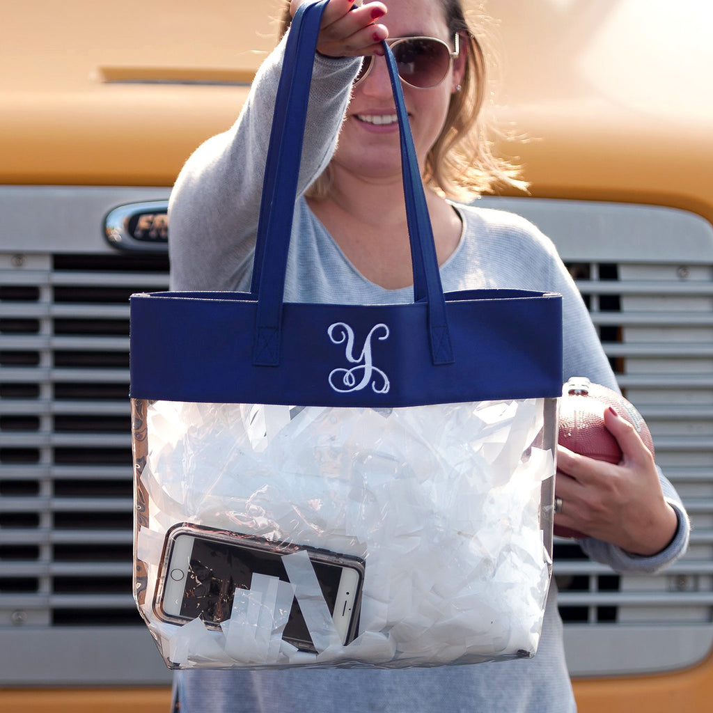 Personalized Stadium Tote Bag - Clear Purse - Navy Blue