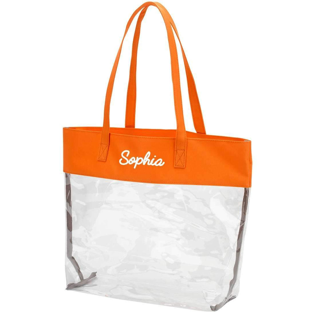 Personalized Stadium Tote Bag - Clear Purse - Orange