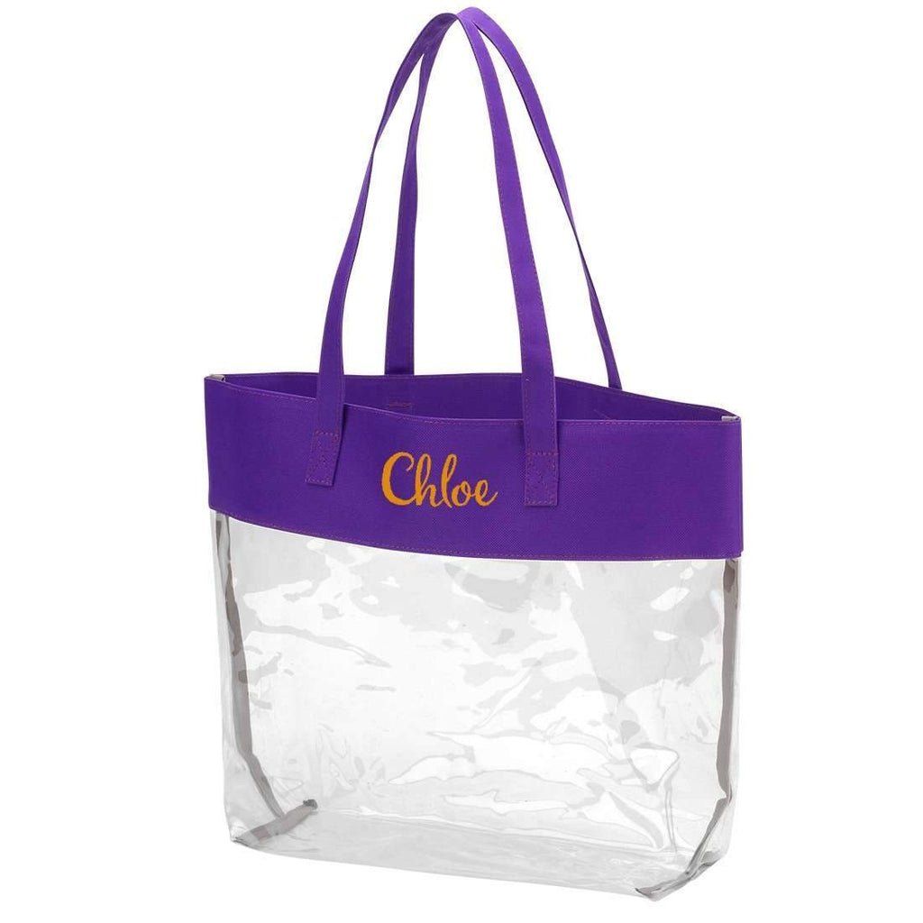 Personalized Stadium Tote Bag - Clear Purse - Purple