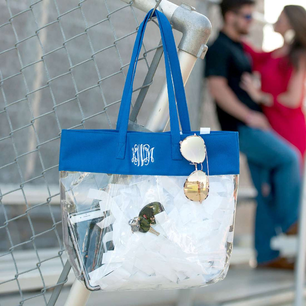 Personalized Stadium Tote Bag - Clear Purse - Royal Blue