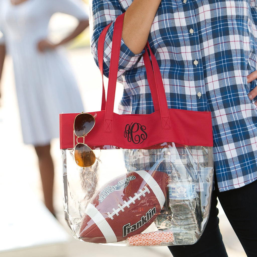 Personalized Stadium Tote Bag - Clear Purse - Red