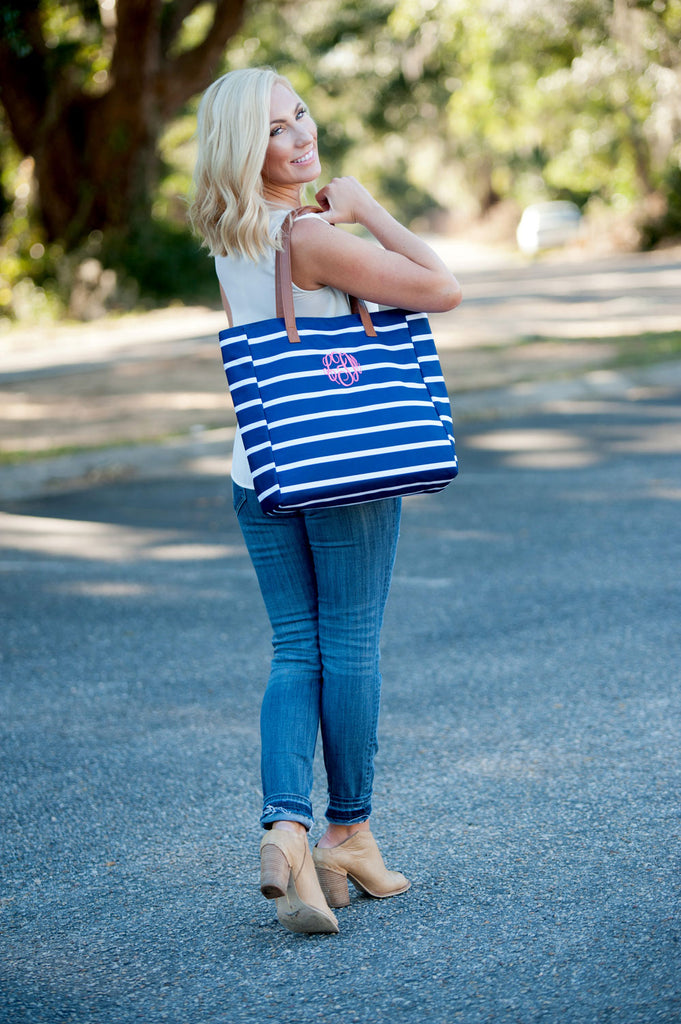Personalized Solid Color & Stripe Tote Bags