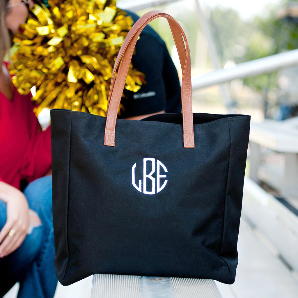 Personalized Solid Color Tote Bags - Black