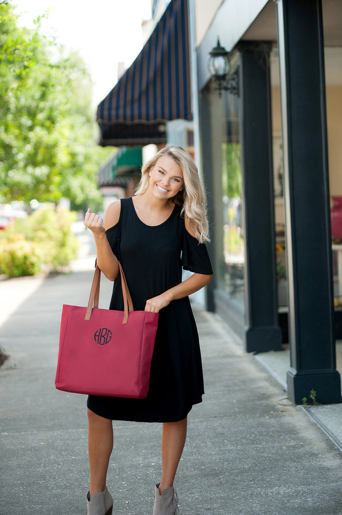 Personalized Solid Color Tote Bags - Garnet