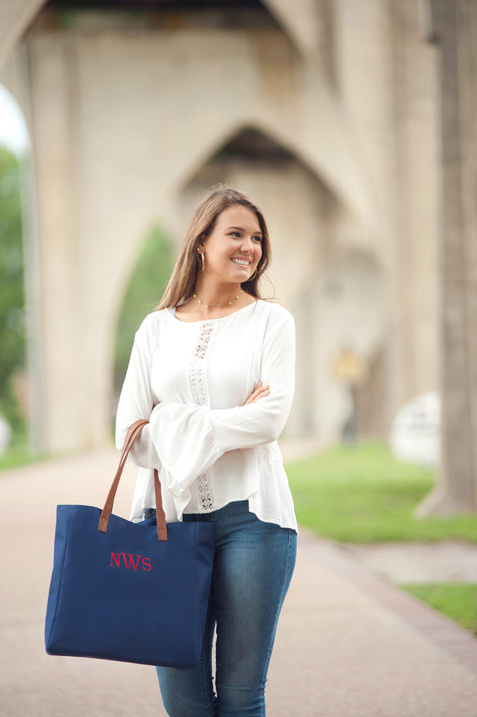 Personalized Solid Color Tote Bags - Navy