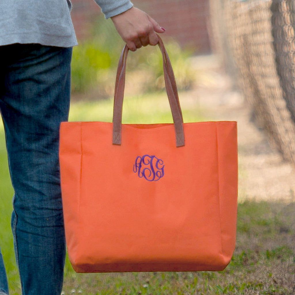 Personalized Solid Color Tote Bags - Orange