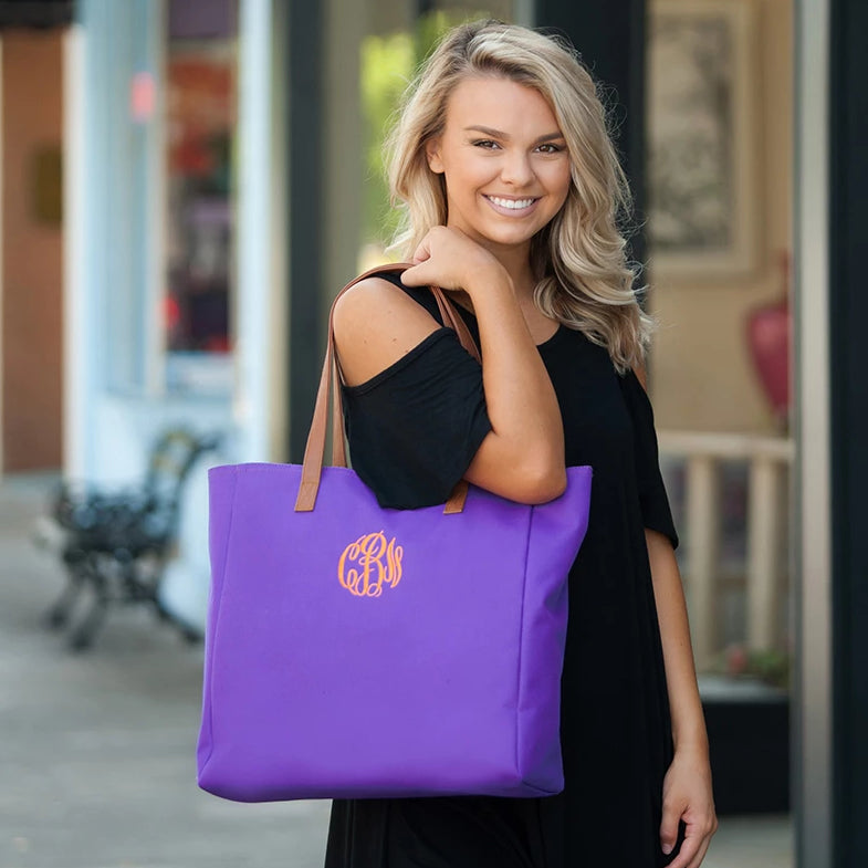 Personalized Solid Color Tote Bags - Purple