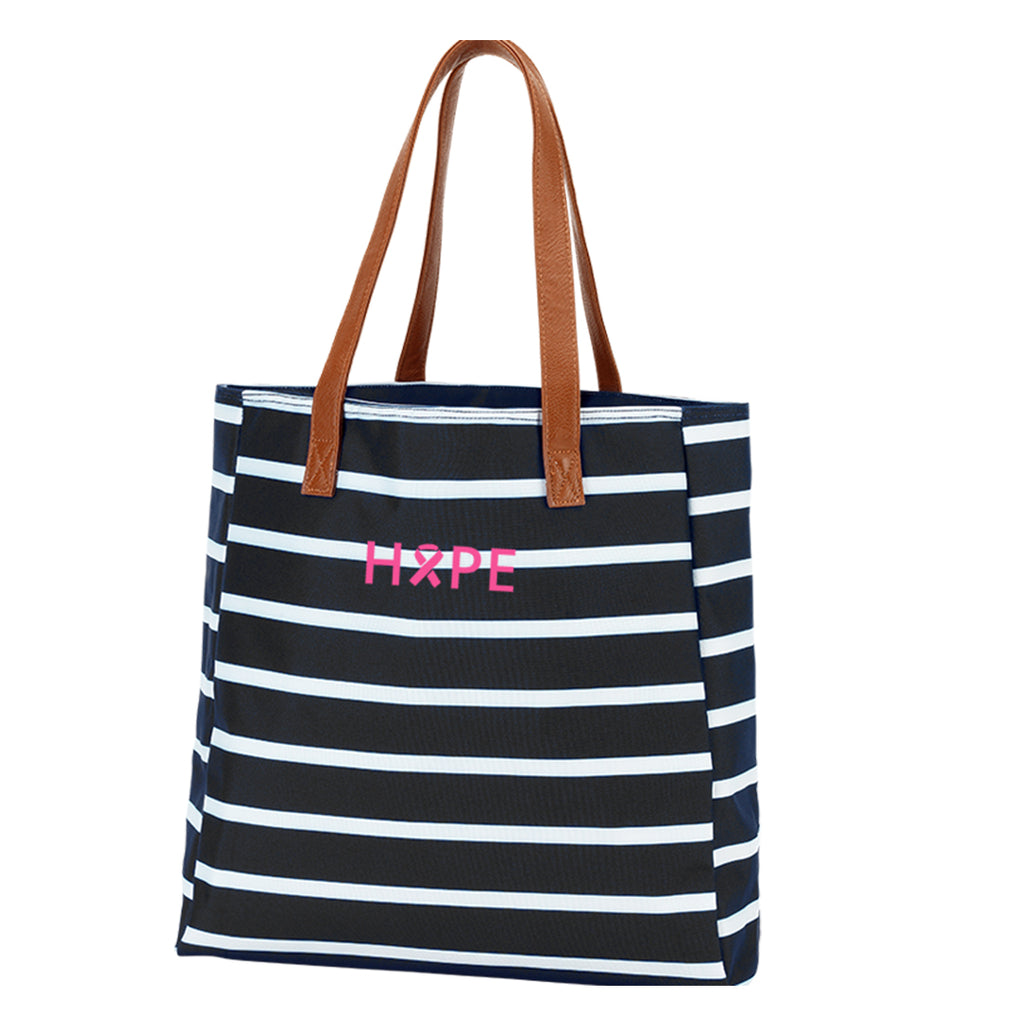 Hope Black Stripe Tote - Breast Cancer Awareness - Pink Ribbon