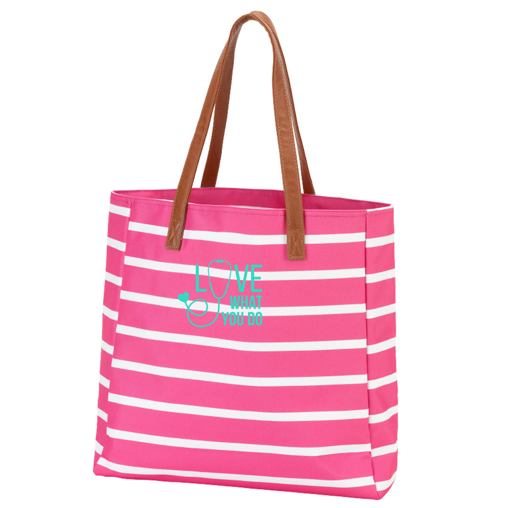 Love What You Do Stripe Hot Pink Tote