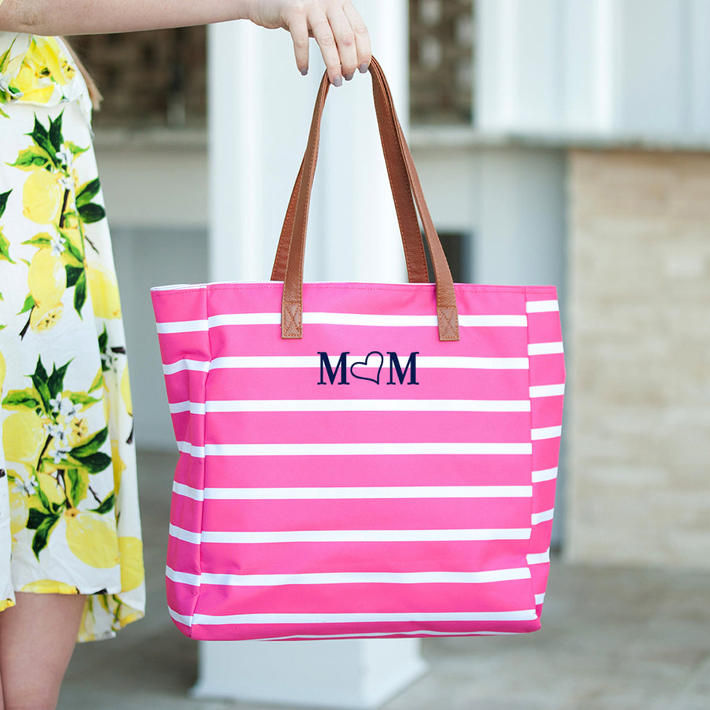 Mom Hot Pink Stripe Tote