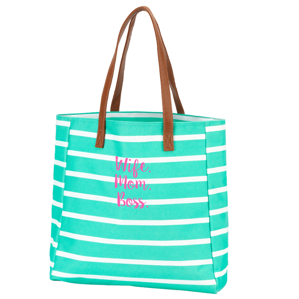Wife. Mom. Boss. Mint Stripe Tote