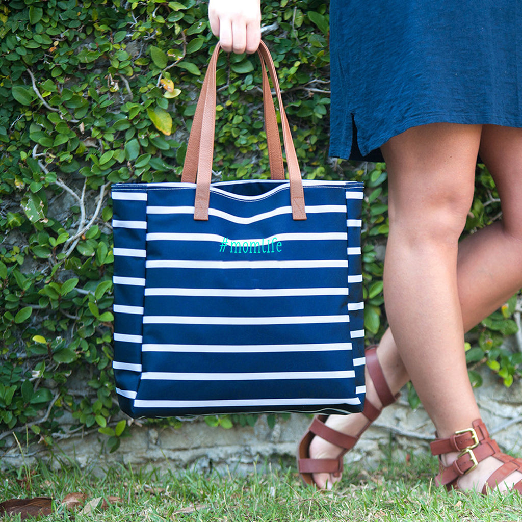 #momlife Navy Stripe Tote