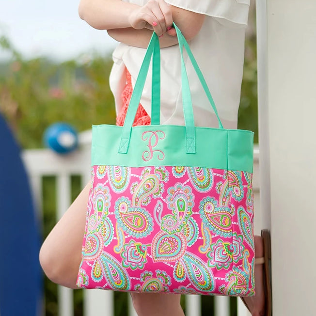 Personalized Kids Tote Bag - Paisley Pink & Mint