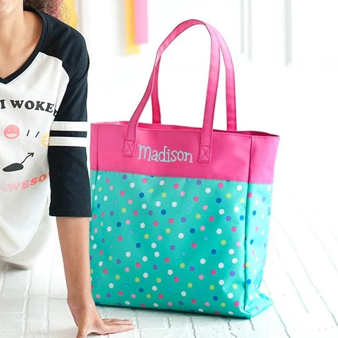 Personalized Kids Tote Bag - Polka Dot Mint