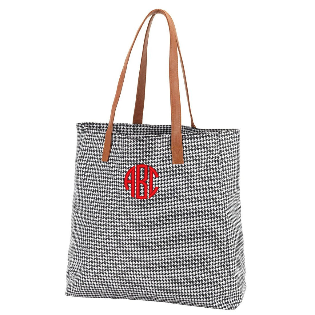 Personalized Solid Color Tote Bags - Houndtooth