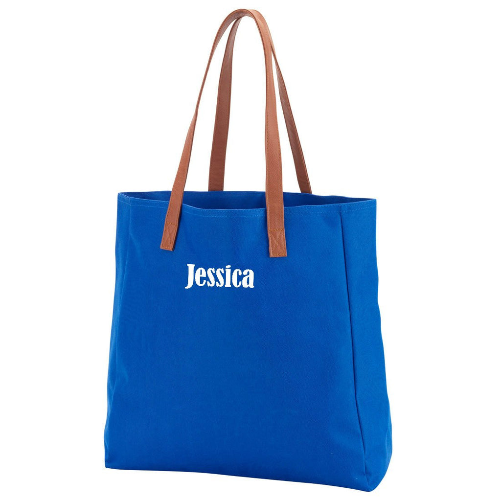 Personalized Solid Color Tote Bags - Royal Blue
