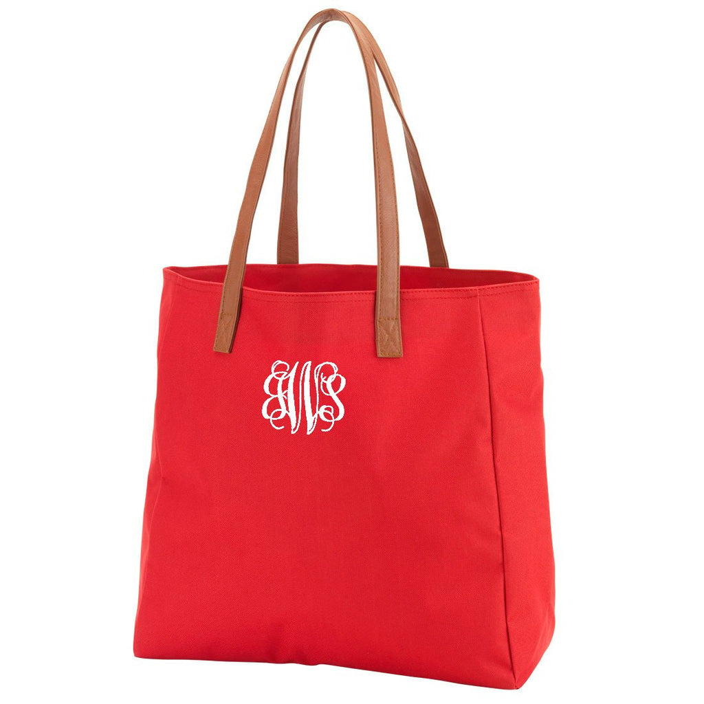 Personalized Solid Color Tote Bags - Red
