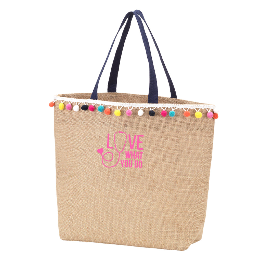 Love What You Do Multicolor Pom-Pom Tote