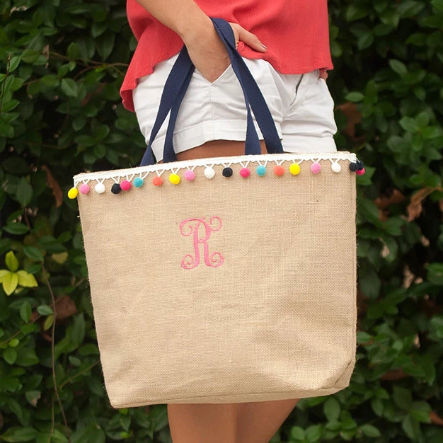 Personalized Burlap Pom Pom Tote Bag
