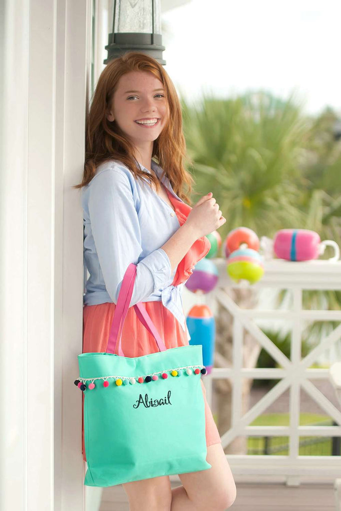 Personalized Pom Pom Tote Bag - Mint