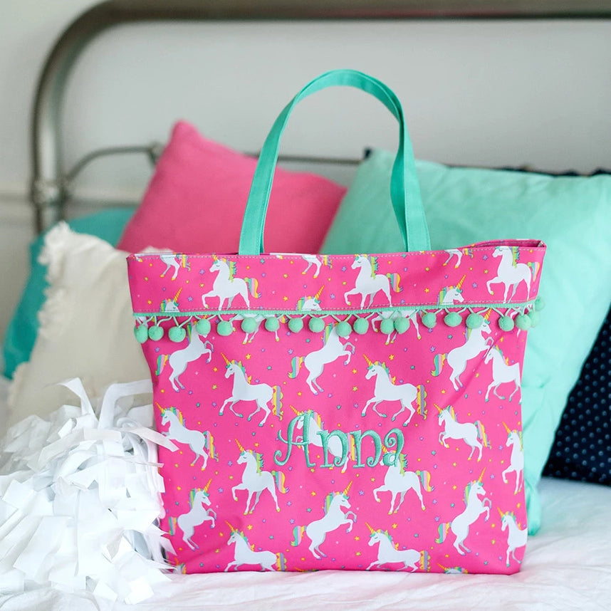 Personalized Pom Pom Tote Bag - Unicorn