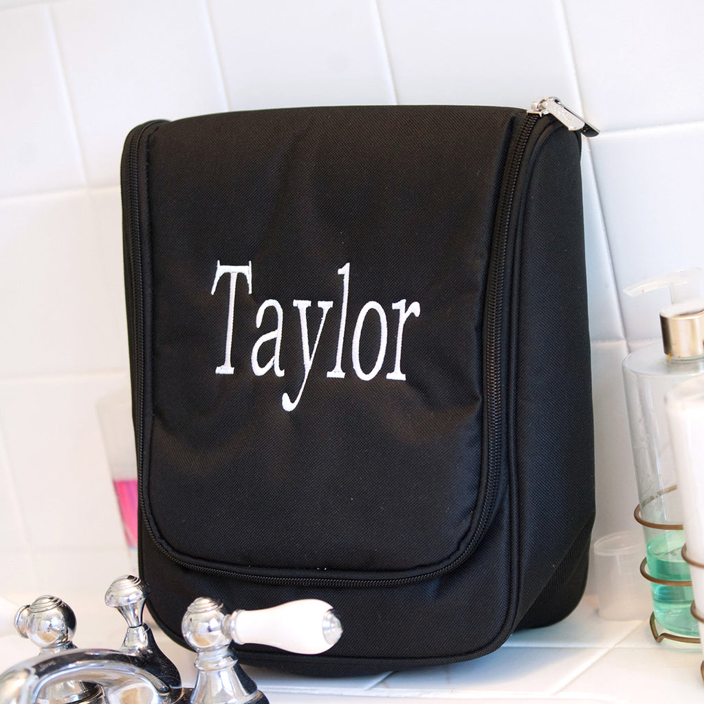 Monogrammed Hanging Travel Case - Cosmetic Bag - Black