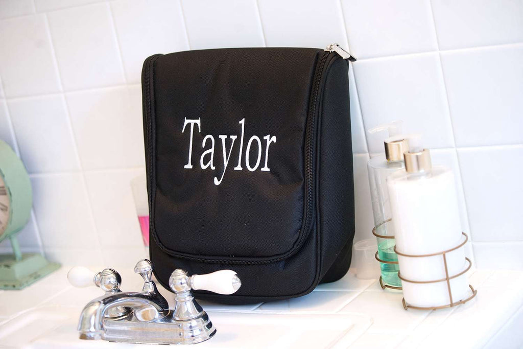 Monogrammed Hanging Travel Case - Cosmetic Bag