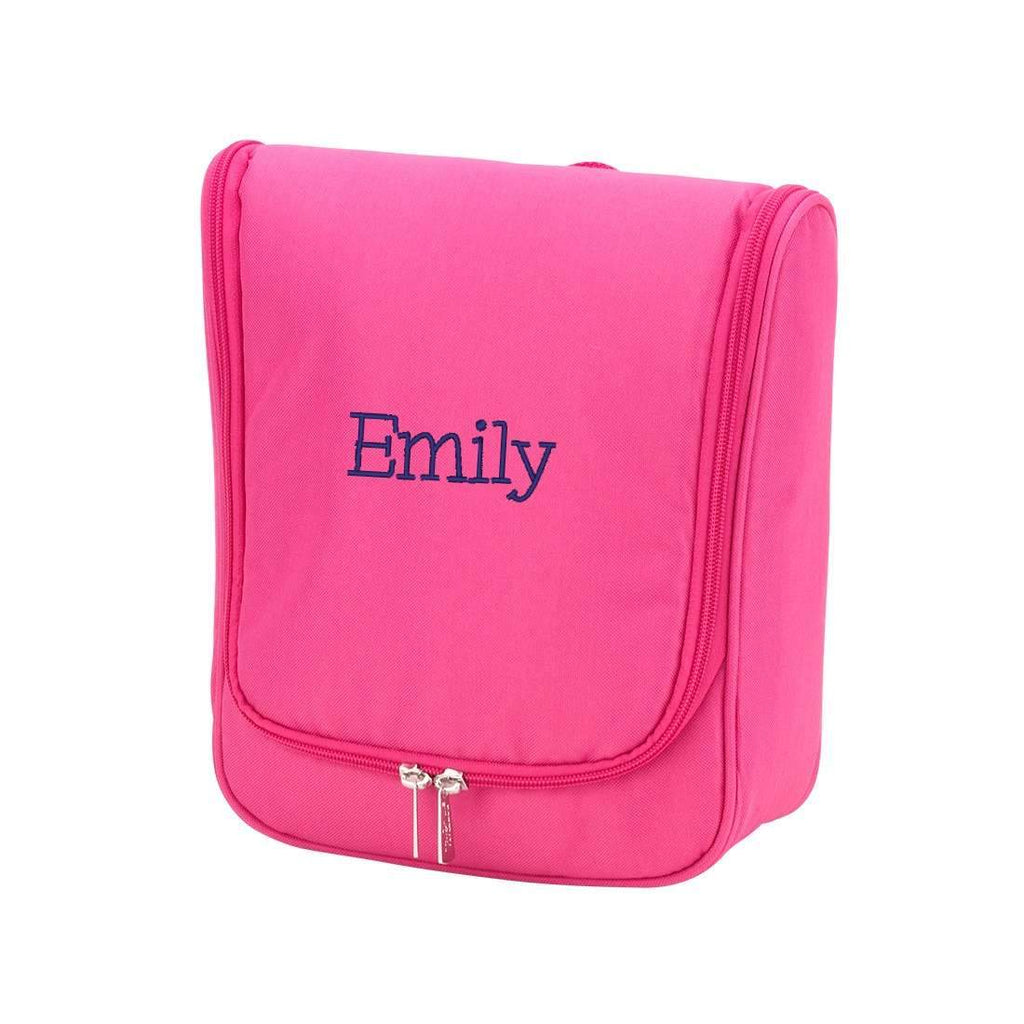 Monogrammed Hanging Travel Case - Cosmetic Bag - Hot Pink