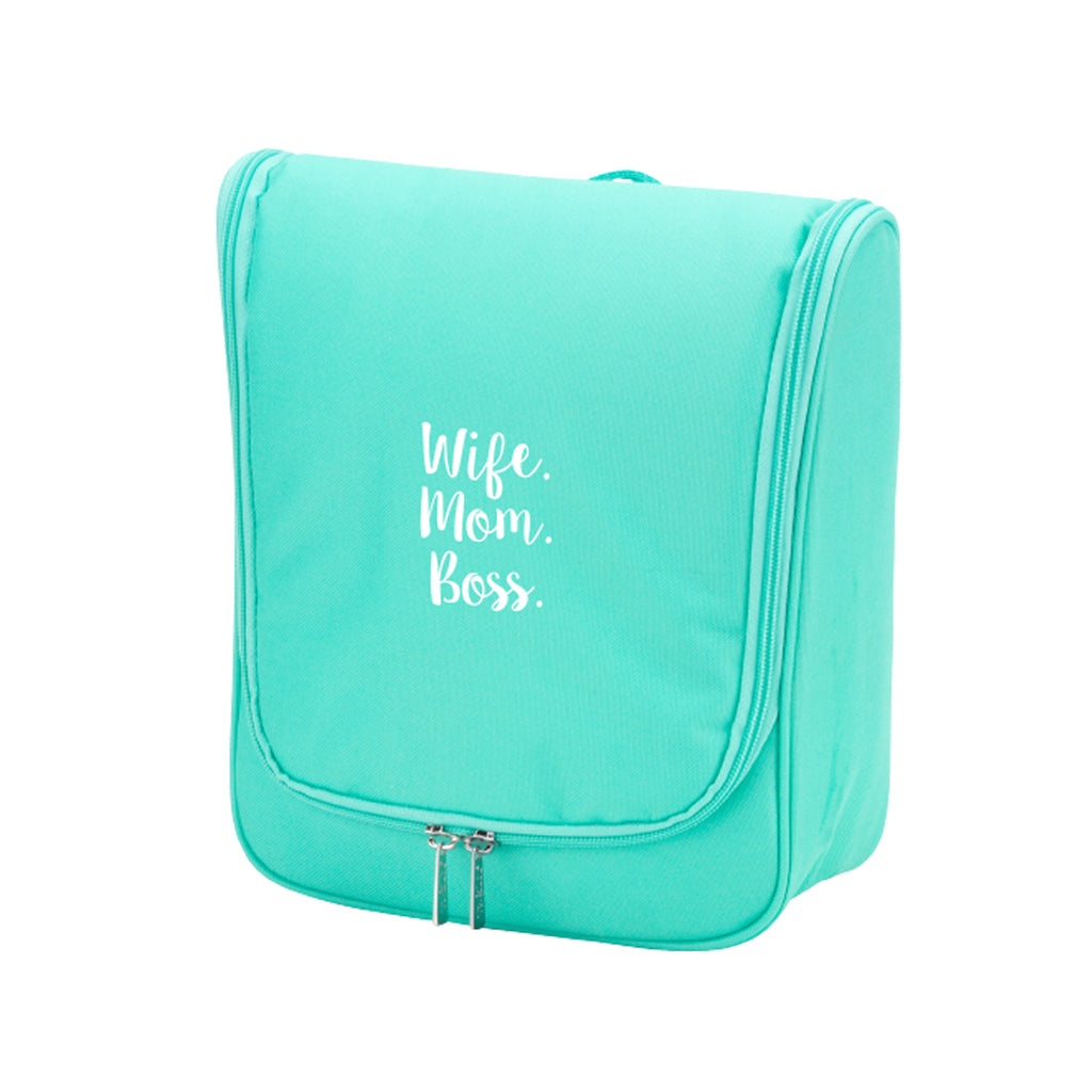 Wife. Mom. Boss. Mint Hanging Travel Case