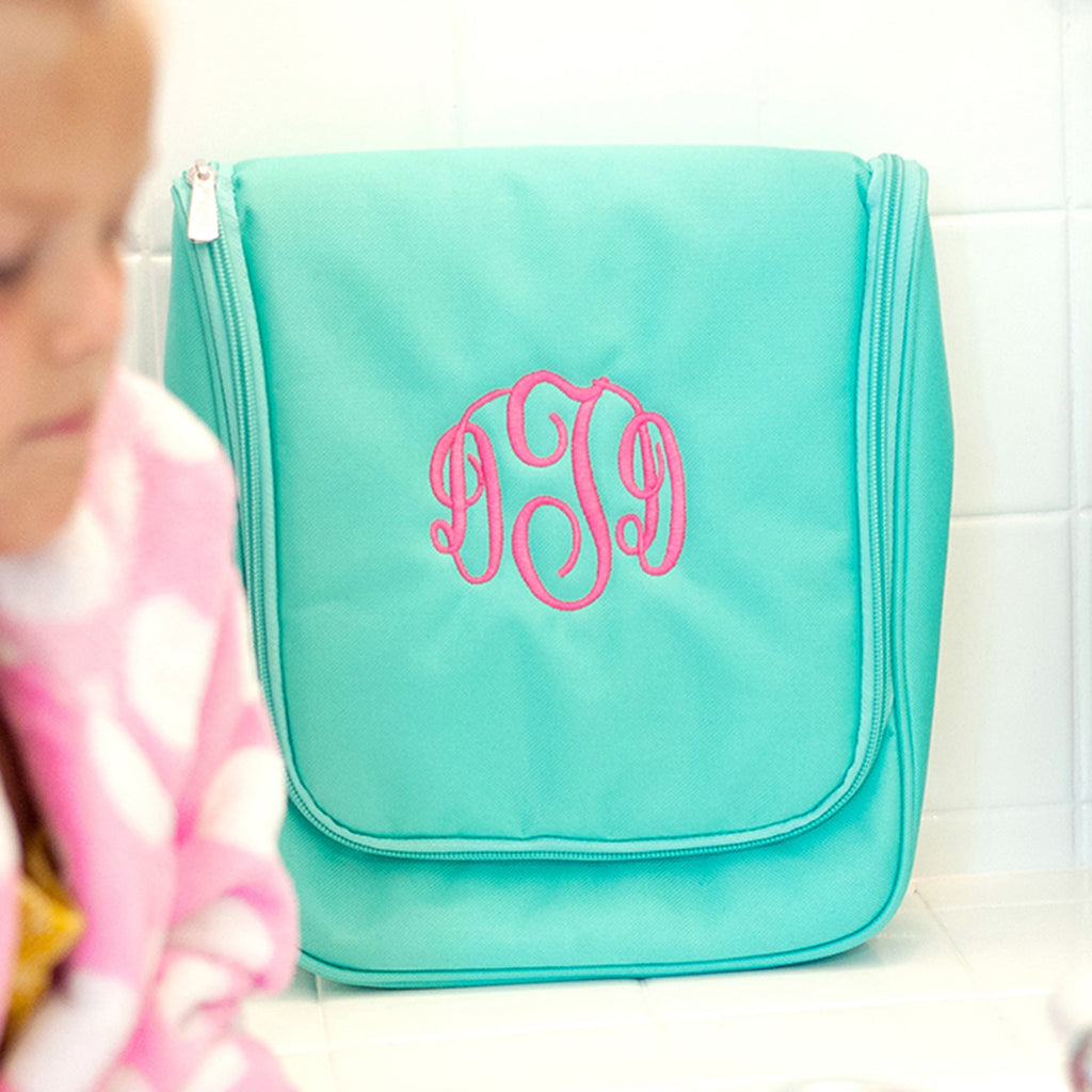 Monogrammed Hanging Travel Case - Cosmetic Bag - Mint