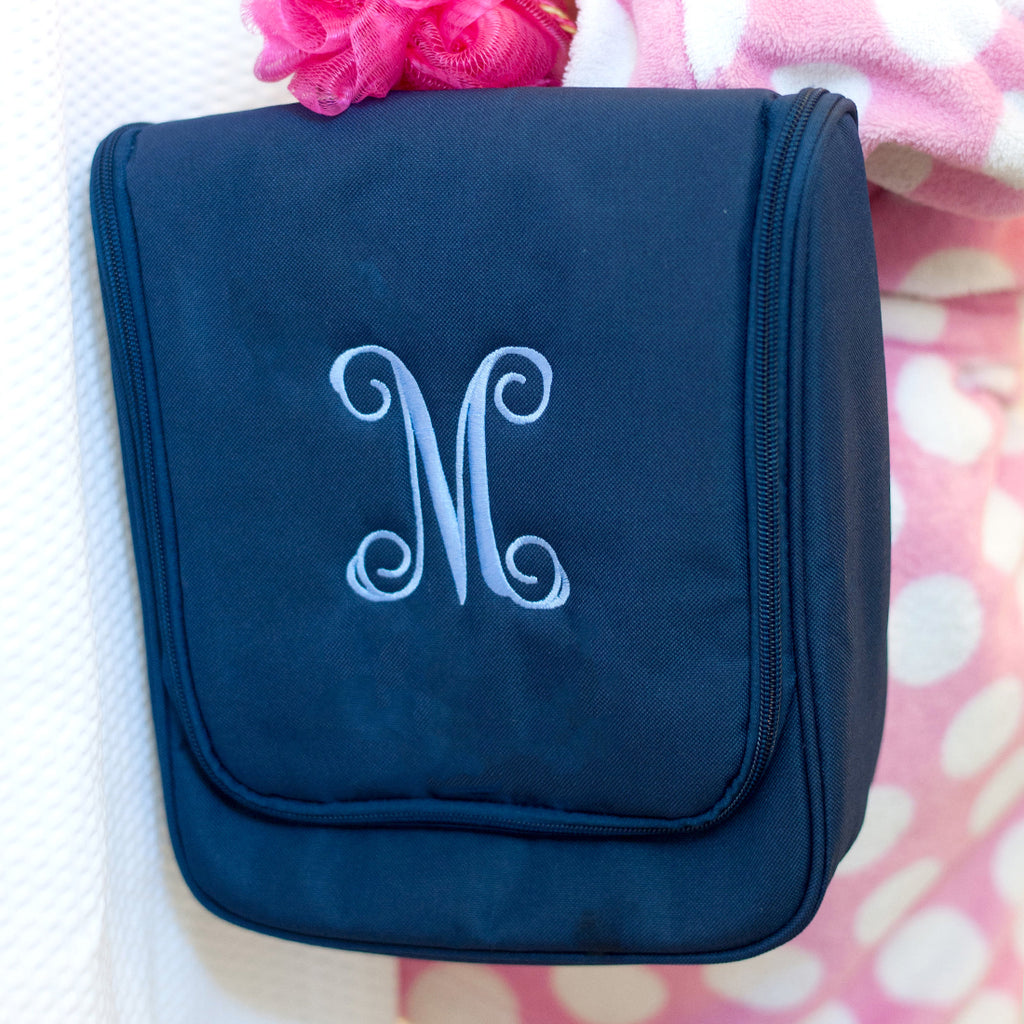 Monogrammed Hanging Travel Case - Cosmetic Bag - Navy Blue